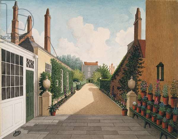 St. James' Square, Bristol: View of the garden, c.1805-06 (w/c on paper) from a paved patio