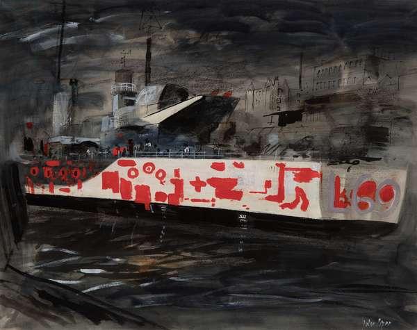 Warship Repairs in Bristol, 1940 (oil on board)
