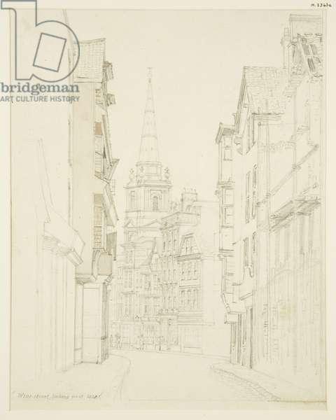 Wine Street, looking West, 1828 (pencil on paper)
