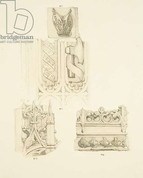 Old Pulpit and Carvings in St Philip's (pencil & w/c on paper)