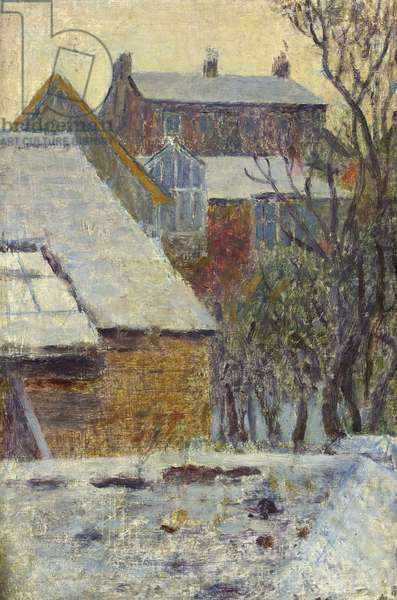 Winter Scene from the Artist's House, Newlyn (oil on canvas)