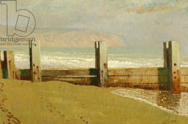 Swanage Bay - Early Morning, 1948 (oil on cardboard)