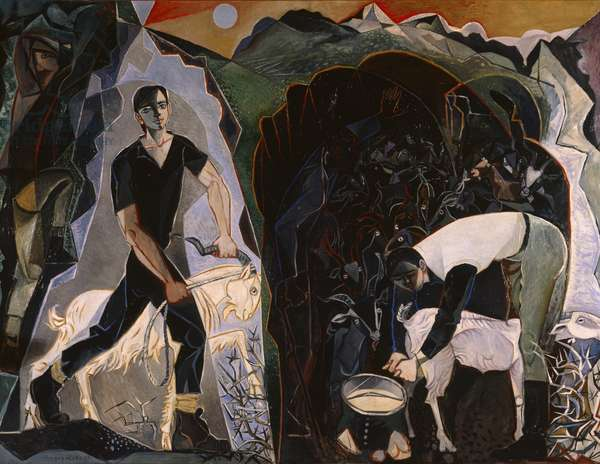 Four Figures in a Mountain Landscape, 1950-51 (oil on canvas)