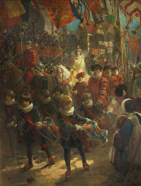 The State Entry of Queen Elizabeth into Bristol, August 14th 1574, 1917 (oil on canvas)