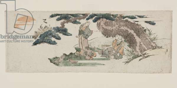 J? and Uba, the ancient couple of Takasago (colour woodblock print)