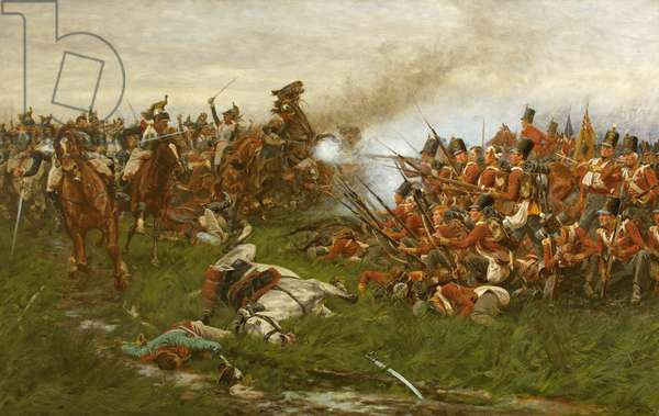 The 28th (1st Gloucestershire Regiment) at Waterloo, 1914 (oil on canvas)