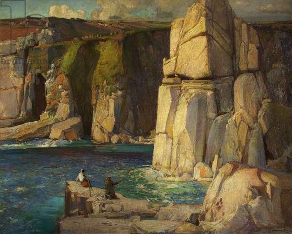 Tregiffian Cliff, near Lamorna, c.1921 (oil on canvas)