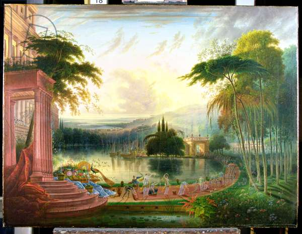 A Romantic Landscape with the Arrival of the Queen of Sheba, c.1830 (oil on canvas)