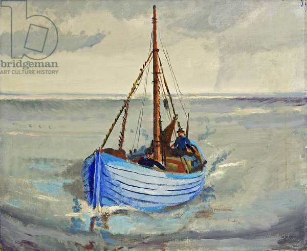 Fishing Boats at Staithes, Yorkshire, 1938 (oil on canvas)