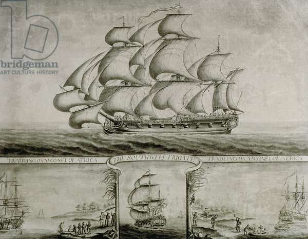 View of the Southwell Frigate Trading on the Coast of Africa, c.1760 (pen & ink and wash)