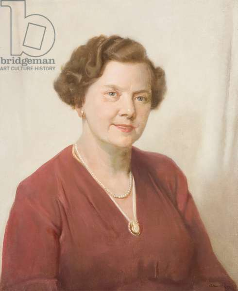 Portrait of E. F. Chapman, long-serving employee of the Wills company, c.1952 (oil on canvas)