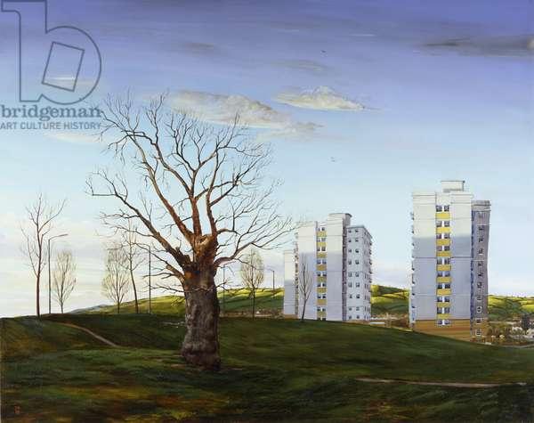 Oak House, Hartcliffe, 1998 (oil on aluminium)