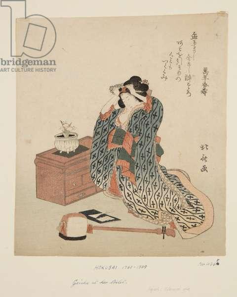 Shamisen Player Adjusting Her Hair (colour woodblock print)