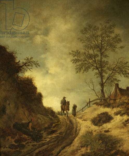 A Horseman and Other Figures on a Hilly Lane (oil on panel)