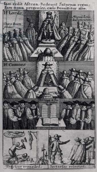 King Charles II (1630-85) with the Houses of Parliament, 1660 (engraving) (b/w photo)