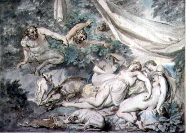 Nymphs Surprised by Satyrs, 18th century (watercolour)