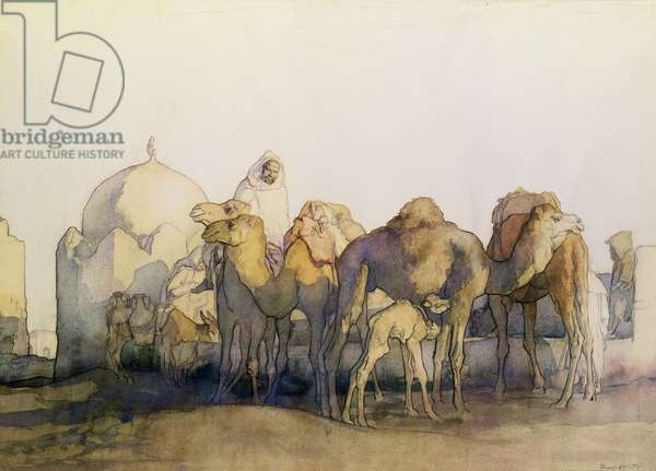 Camels at a Well, Tunisia (w/c on paper)