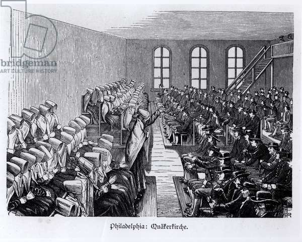 Quaker Meeting, Philadelphia, from 'Nord Amerika' by Hesse-Warburg, 1888 (engraving) (b/w photo)