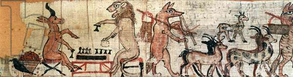 The Satirical Papyrus, detail from the left hand side showing a lion and an antelope playing the senet game, from Thebes, c.1100 BC (see also 85722)