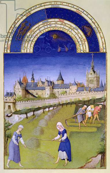 Facsimile of June: Haymaking, from the 'Tres Riches Heures du Duc de Berry' (vellum) (from original see 8438)