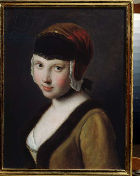 A girl with a black mask (oil on canvas)