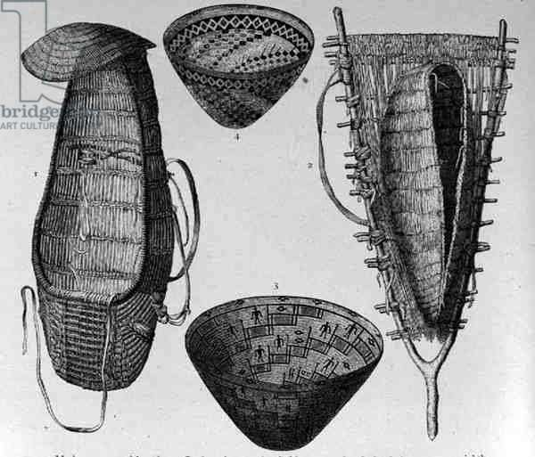 Modoc Woven Work, from 'The History of Mankind' by Prof. Friedrich Ratzel, pub. in 1904 (engraving)