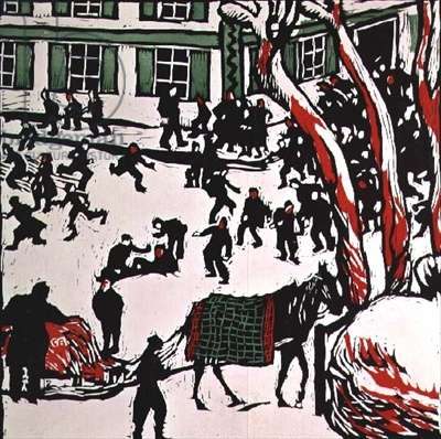 Street in Winter, (coloured litho)
