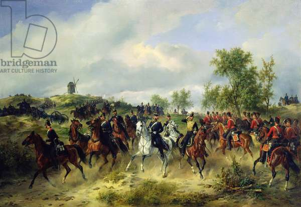 Prussian cavalry on expedition, c.19th (oil on canvas)