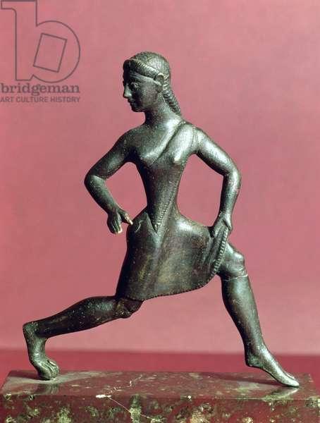 Figurine of a girl running, Sparta, 520-500 BC (bronze)