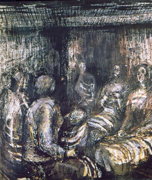 Five Women and a Child in Shelter, Page 35 from the Bunker Sketchbook, 1940-41 (pencil, crayon, w/c and pen & ink on paper)