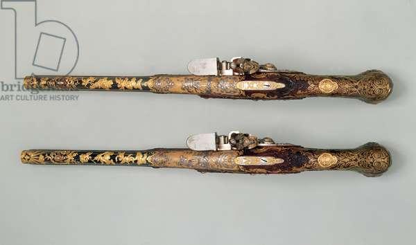 Flintlock pistols, c.1690