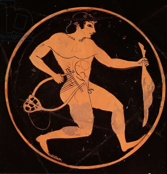 A running boy with a leg of lamb and a lyre, detail from a red figured kylix, Greek, late 6th century or early 5th century BC (ceramic)