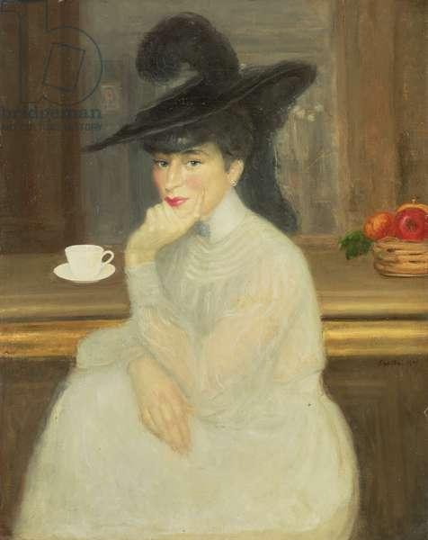Waiting at the Bar: Portrait of Sarah Bernhardt, 1907 (oil on canvas)