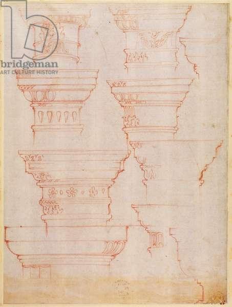 W.18v Study of column capitals (coloured pencil)