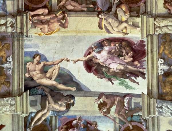Sistine Chapel Ceiling: Creation of Adam, 1510 (fresco) (post restoration)