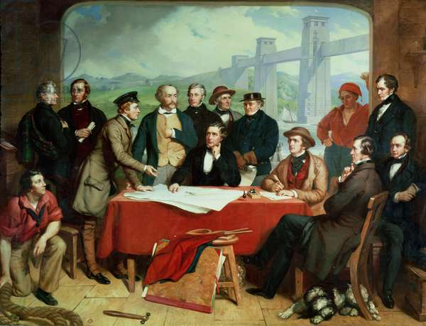 Conference of Engineers at Britannia Bridge, c.1850 (oil on canvas)