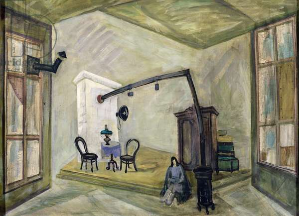 Stage design for Rosov's play 'The Eternal Living', 1975 (tempera on canvas)