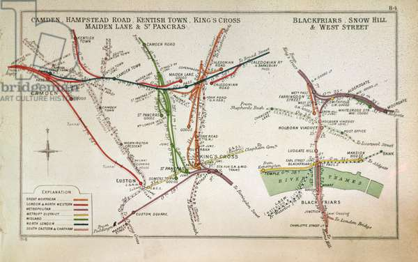 Transport map of London, c.1915 (colour litho)