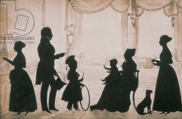 Silhouette of the Cramsie Family of O'Harrabrook, Ballymoney, Co. Antrim, 1838 (paper)