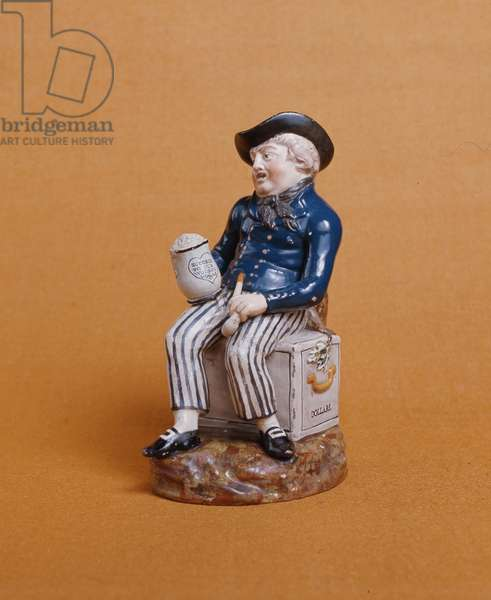 Sailor with pipe and beer seated on a chest of dollars (painted and glazed earthenware) (see also 66782)