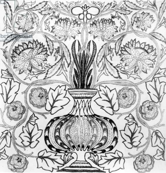 'The Flower Pot', embroidered panel designed by William Morris (1834-96) and executed by May Morris (b/w print)