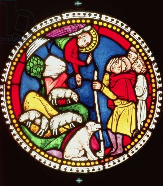 Window depicting The Annunciation to the Shepherds, c.1300 (stained glass)