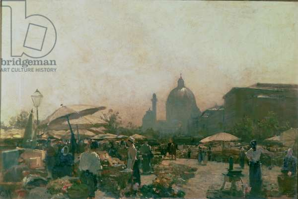 A Market with St. Charles' Church in the Distance, Vienna, c.1894 (oil on canvas)