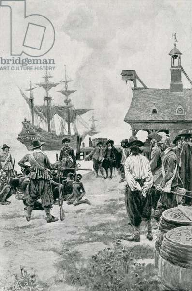 The Landing of Negroes at Jamestown from a Dutch Man-of-War, 1619, illustration from 'Colonies and Nation' by Woodrow Wilson, pub. in Harper's Magazine, 1901 (litho)