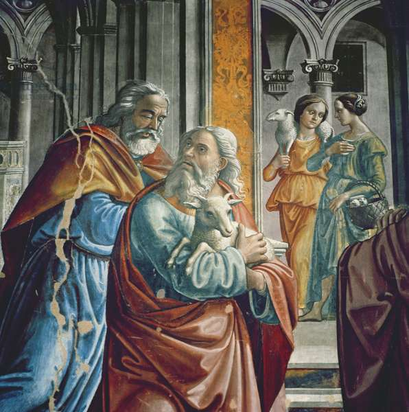 The Expulsion of Joachim from the Temple, detail, 1485-90 (fresco)