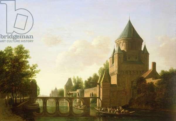 Evening View of the Kleine Houtpoort in Haarlem (panel)