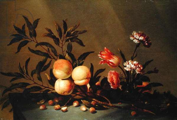 Still Life of Peaches and flowers, 1641 (oil on board)