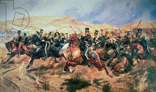 Charge of the Light Brigade, Balaclava, 25 October in 1854 (colour litho)