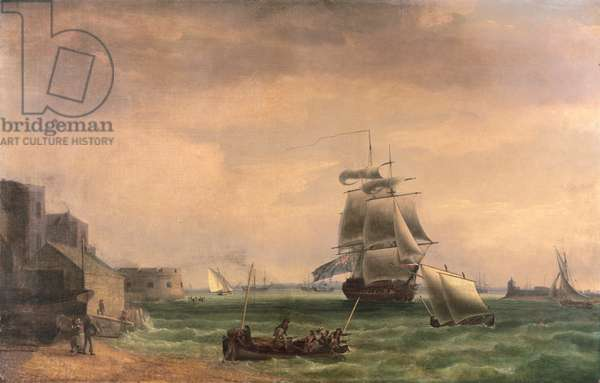 Men-O'-War and Small Craft at Portsmouth Harbour, late 18th or early 19th century (oil on canvas)
