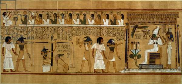 The Weighing of the Heart against Maat's Feather of Truth, from the Book of the Dead of the Royal Scribe Hunefer, New Kingdom, c.1275 BC (papyrus)